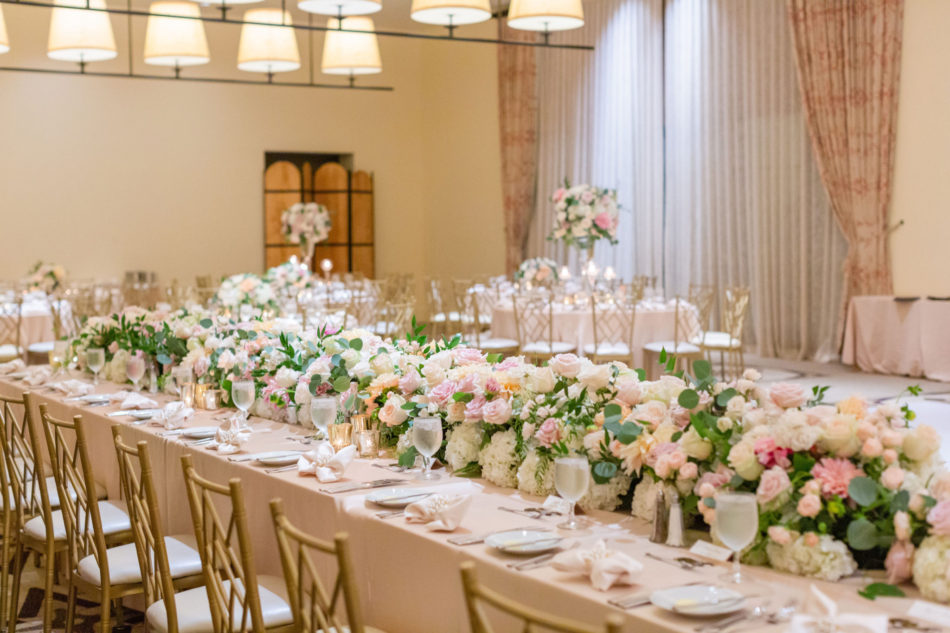 blush reception florals, blush tablescape, romantic pastel wedding, floral design, florist, wedding florist, wedding flowers, orange county weddings, orange county wedding florist, orange county florist, orange county floral design, flowers by cina