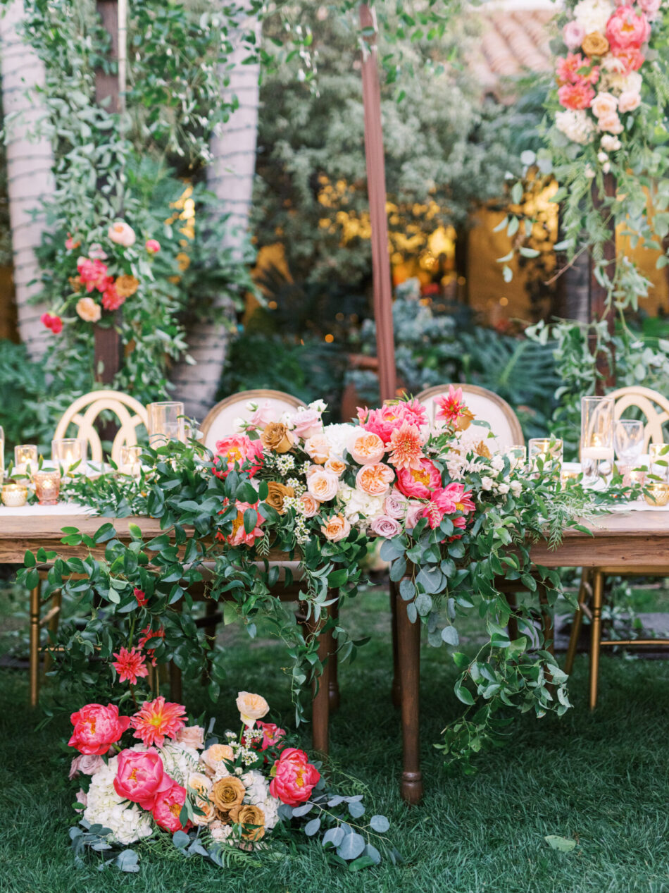 pink sweetheart table, pink blooms, california wedding day best of 2020, floral design, florist, wedding florist, wedding flowers, orange county weddings, orange county wedding florist, orange county florist, orange county floral design, flowers by cina