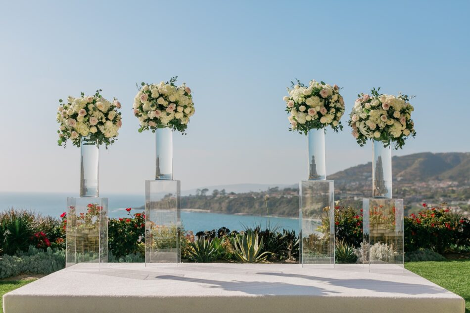 oceanfront ceremony, elevated ceremony blooms, california wedding day best of 2020, floral design, florist, wedding florist, wedding flowers, orange county weddings, orange county wedding florist, orange county florist, orange county floral design, flowers by cina
