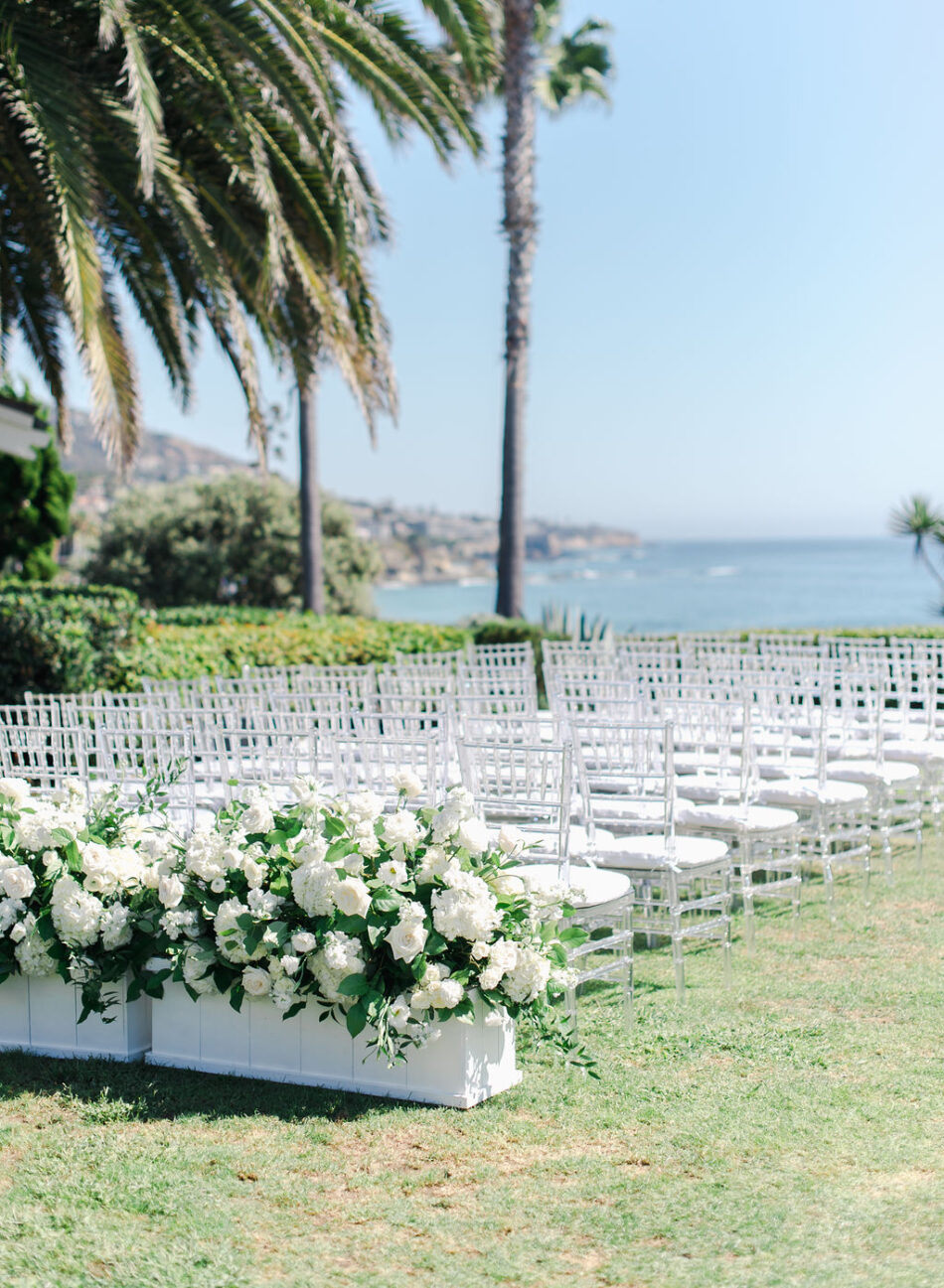 all-white ceremony, white ceremony blooms, white ceremony decor, gorgeous oceanfront wedding, floral design, florist, wedding florist, wedding flowers, orange county weddings, orange county wedding florist, orange county florist, orange county floral design, flowers by cina