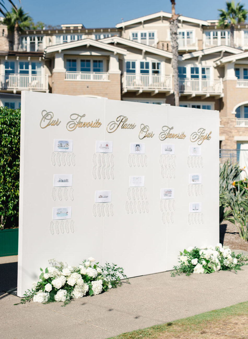 seating chart, floral seating chart, white floral decor, gorgeous oceanfront wedding, floral design, florist, wedding florist, wedding flowers, orange county weddings, orange county wedding florist, orange county florist, orange county floral design, flowers by cina