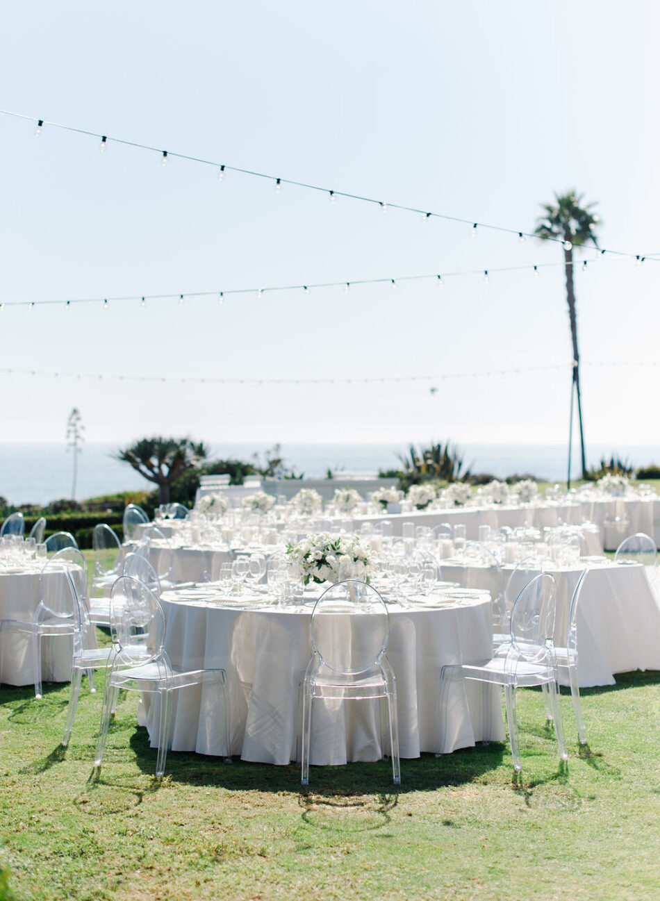 alfresco reception, all-white reception, outdoor reception, gorgeous oceanfront wedding, floral design, florist, wedding florist, wedding flowers, orange county weddings, orange county wedding florist, orange county florist, orange county floral design, flowers by cina