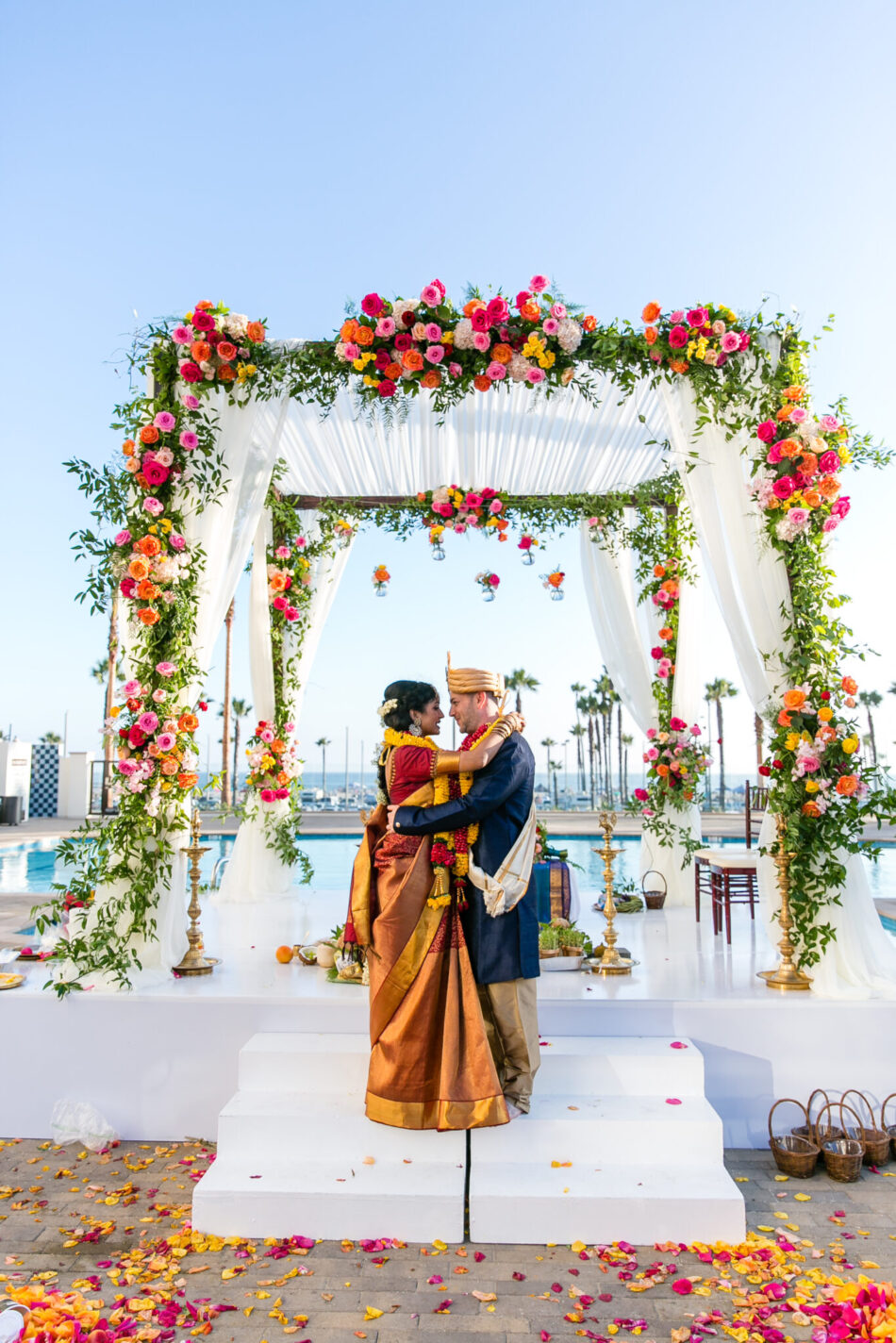 indian wedding, colorful ceremony arch, stunning vibrant wedding, floral design, florist, wedding florist, wedding flowers, orange county weddings, orange county wedding florist, orange county florist, orange county floral design, flowers by cina