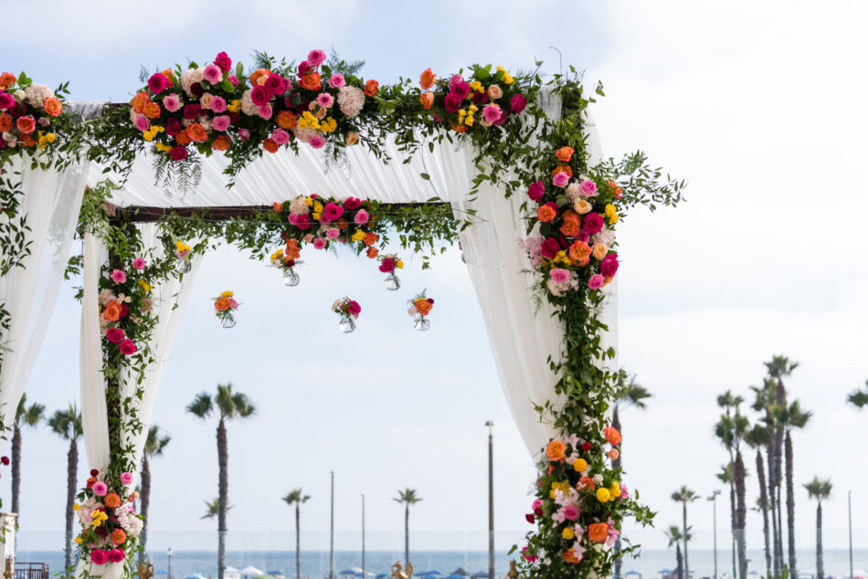 colorful floral arch, colorful ceremony structure, stunning vibrant wedding, floral design, florist, wedding florist, wedding flowers, orange county weddings, orange county wedding florist, orange county florist, orange county floral design, flowers by cina