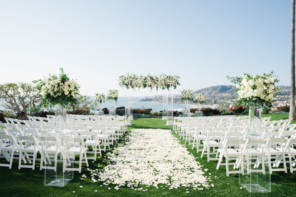 petal-filled aisle, oceanfront ceremony, memorable floral-filled ceremony setups, floral design, florist, wedding florist, wedding flowers, orange county weddings, orange county wedding florist, orange county florist, orange county floral design, flowers by cina
