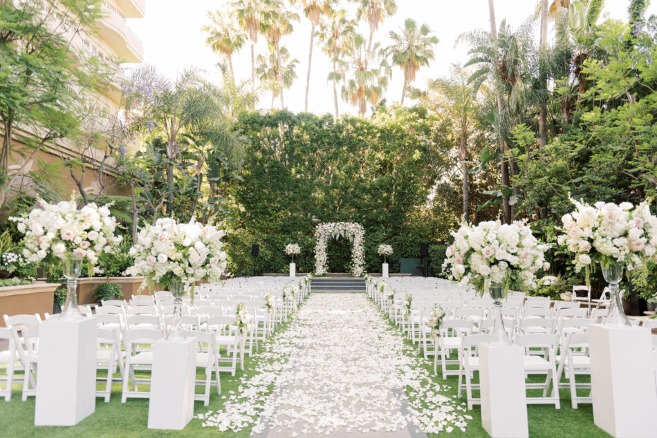petal-filled aisle, all-white ceremony, memorable floral-filled ceremony setups, floral design, florist, wedding florist, wedding flowers, orange county weddings, orange county wedding florist, orange county florist, orange county floral design, flowers by cina