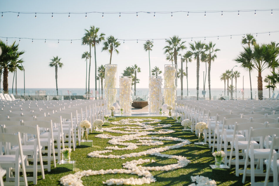 all-white ceremony florals, petal-filled aisle, memorable floral-filled ceremony setups, floral design, florist, wedding florist, wedding flowers, orange county weddings, orange county wedding florist, orange county florist, orange county floral design, flowers by cina