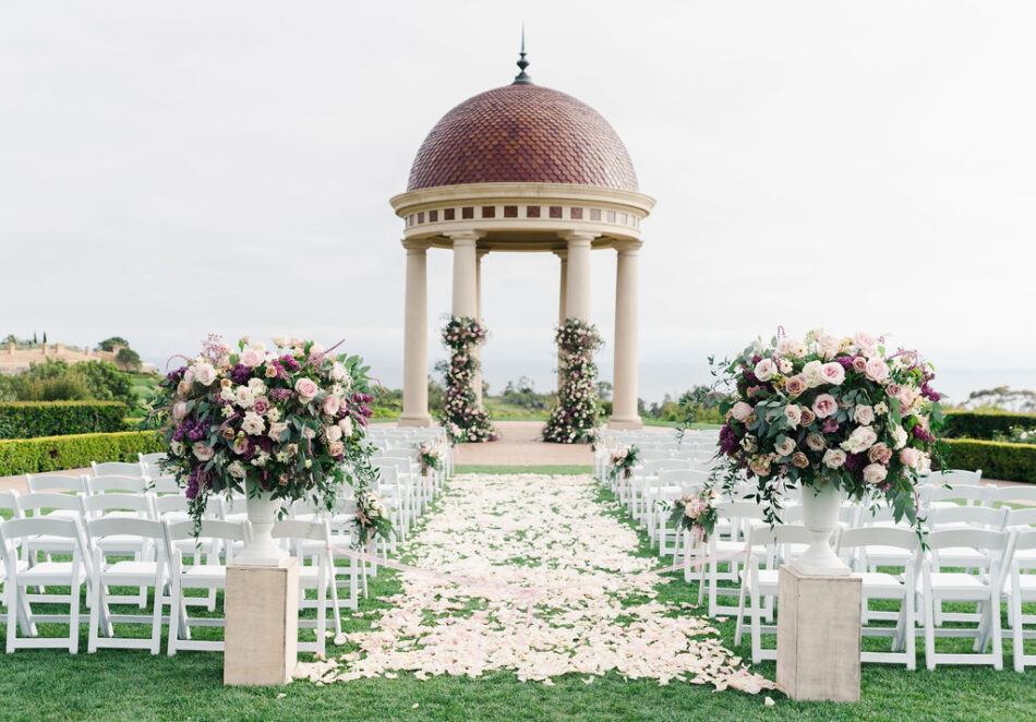 purple ceremony florals, petal-filled aisle, memorable floral-filled ceremony setups, floral design, florist, wedding florist, wedding flowers, orange county weddings, orange county wedding florist, orange county florist, orange county floral design, flowers by cina