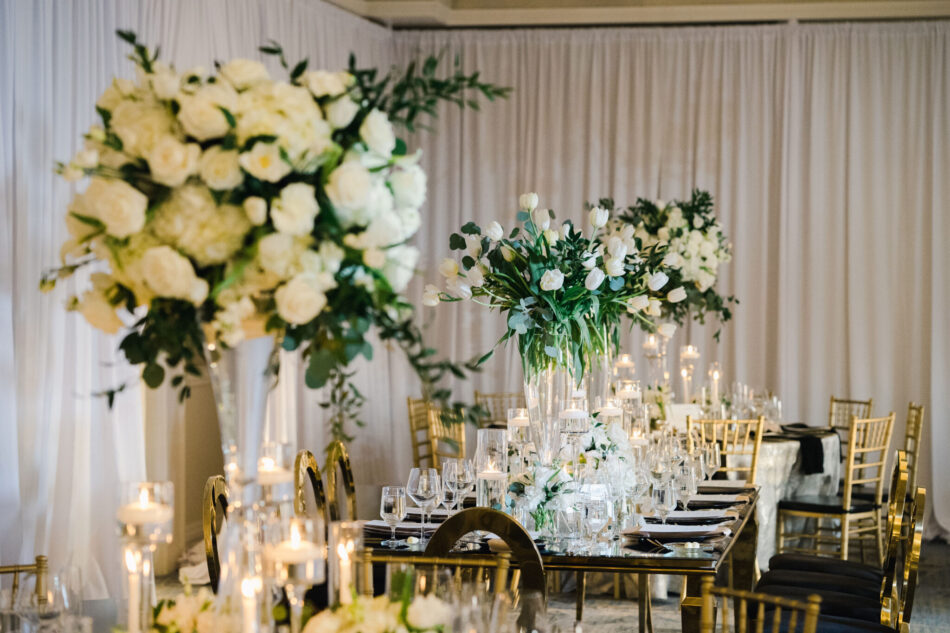 white centerpiece, elevated centerpiece, gold reception, ethereal oceanfront wedding, floral design, florist, wedding florist, wedding flowers, orange county weddings, orange county wedding florist, orange county florist, orange county floral design, flowers by cina