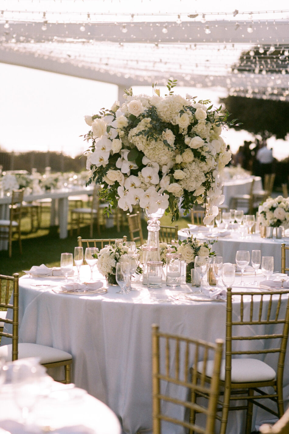 white centerpiece, white reception, beautiful floral-filled wedding, floral design, florist, wedding florist, wedding flowers, orange county weddings, orange county wedding florist, orange county florist, orange county floral design, flowers by cina
